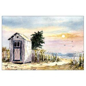 Cabine de plage vendéenne - Aquarelle de Jean-Pascal Duboil