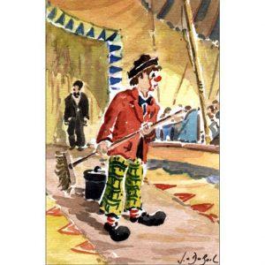 """""""Clown balai"""" sur la piste - Aquarelle de JC Duboil"""