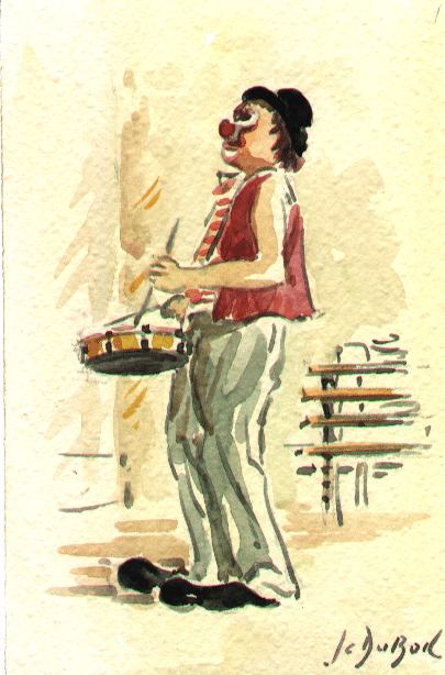 Le clown au tambour - Aquarelle de Jean-Claude Duboil